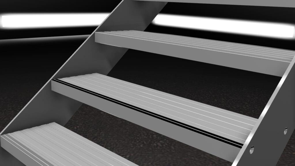 trap met aluminium traptreden