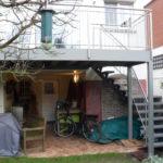 terras + trap aan bel etage